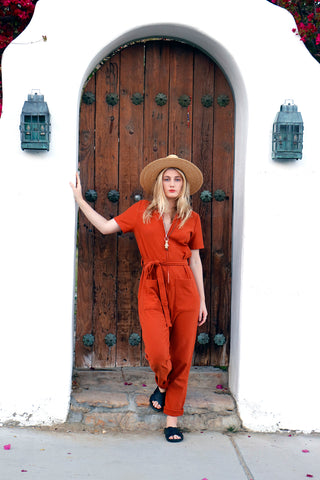 rusted orange elena zip up jumpsuit | Love Faustine