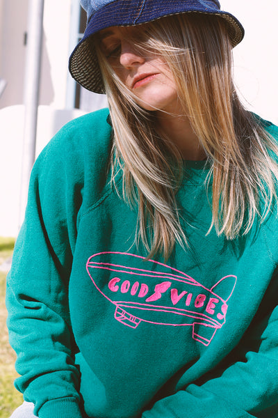 vintage sweatshirt with good vibes embroidery detail | Love Faustine