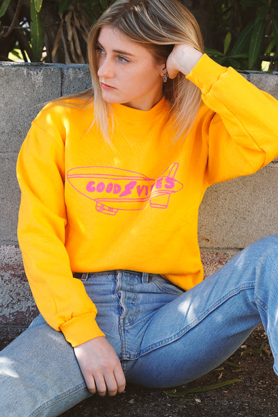 yellow upcycled vintage sweatshirt with good vibes embroidery detail | Love Faustine