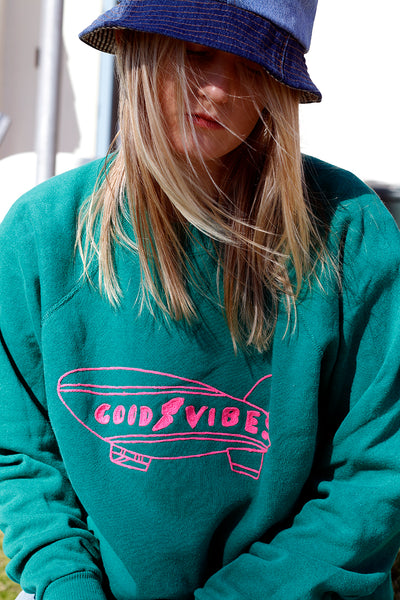 upcycled vintage sweatshirt with good vibes embroidery detail | Love Faustine