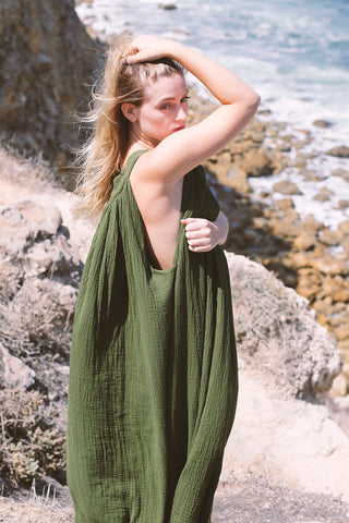 Emerald Gaia Flowy Cotton Pull-Over Maxi Dress | Love Faustine
