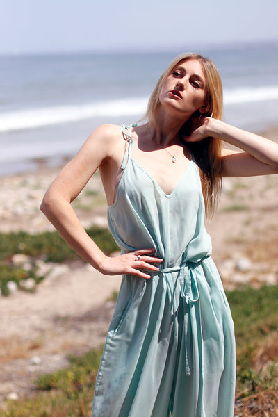 mint jumpsuit sustainable,dead stock hand made in california