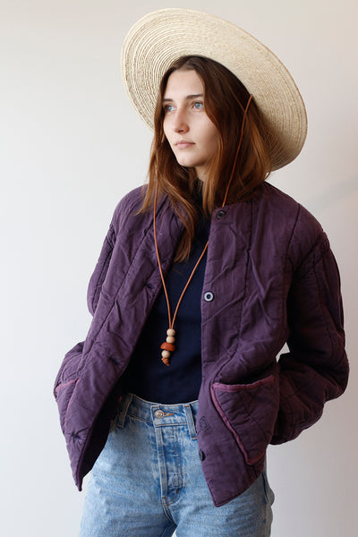 Vintage Czech Quilted Liner Jacket - Plum