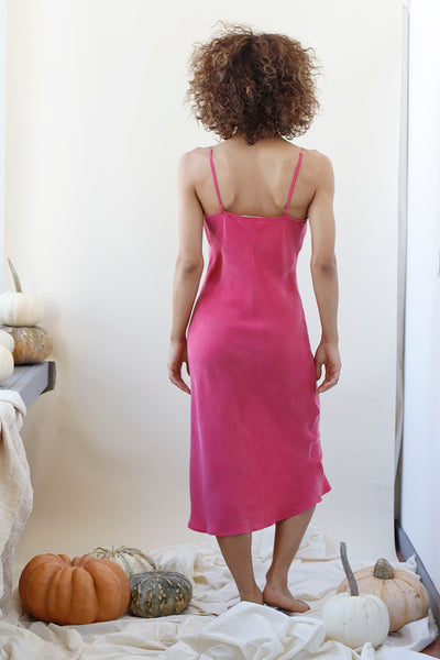 Marjorie Raspberry Slip Dress - Sustainable Midi Dress, Spaghetti straps, adjustable straps, curvy dress, fall dress, fall 2019, sexy dress, eco clothing, pink dress, v-neck  | Love Faustine