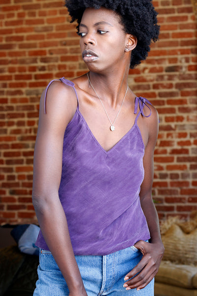 sustainable violet bias cut cami with adjustable tie straps and v-neck | Love Faustine