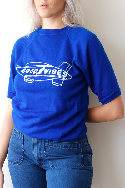 Vintage Royal blue Short Sleeve Sweatshirt