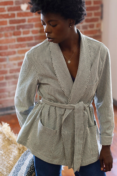Soleil Wrap Jacket - Striped Cotton