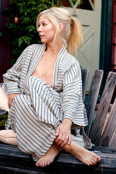 Del Sol Striped Kimono, Deadstock, Lounge Wear, Made in LA, Elegant Lounge, Recycled Cotton + Hemp | Love Faustine