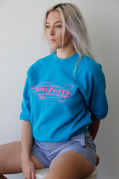 Vintage Oversizes turquoise Sweatshirt with Good Vibes
