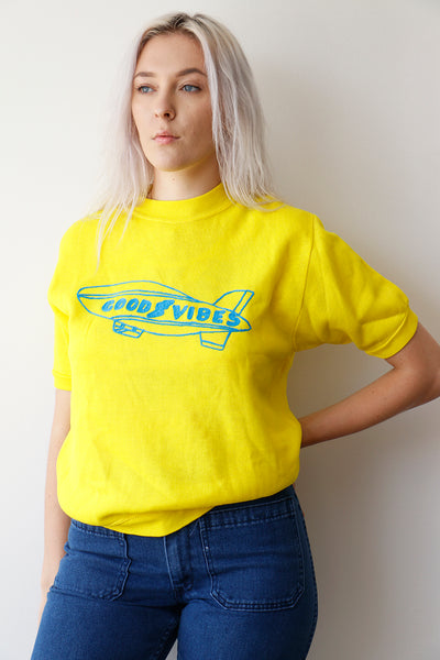 Good Vibes Short Sleeve Sweatshirt - Yellow