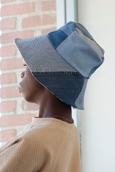 zero waste patch work bucket hat made from recycled vintage denim | Love faustine