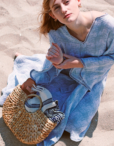 Frida Blue Cotton Linen Dress | Sustainable  zero waste Love faustine