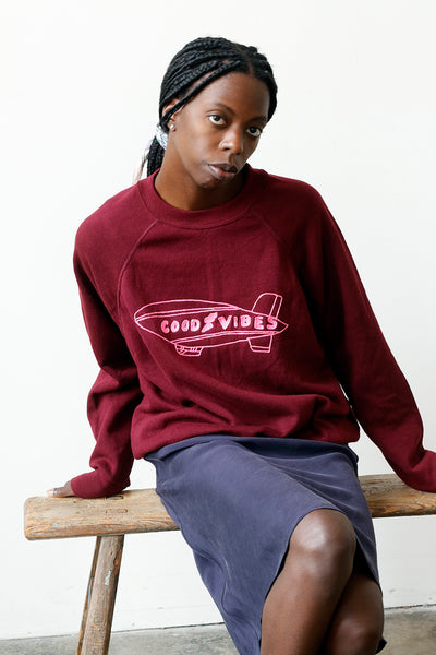 reclaimed vintage sweatshirt with good vibes embroidery detail | Love Faustine