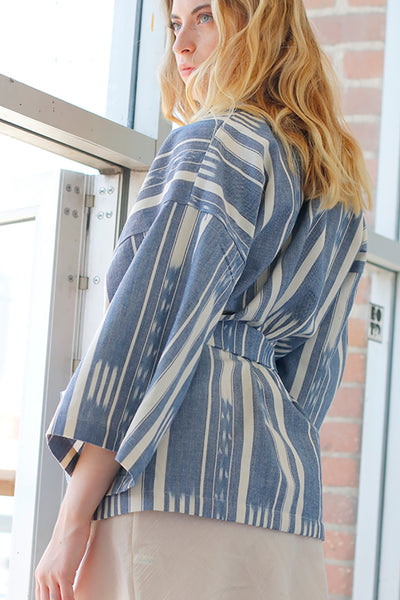 back view blue and white Ikat kimono jacket 3/4 sleeve tie waist jacket