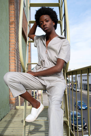 Elena Striped Denim Jumpsuit, Deadstock, Jumper, Eco-Friendly Clothing, Sustainable Workwear | Love Faustine