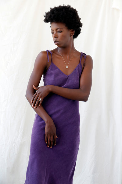 eco friendly violet midi slip dress in bias cut