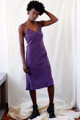Sustainable violet midi slip dress in bias cut