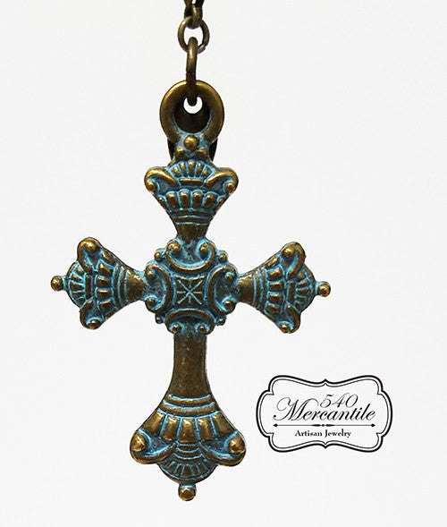 Bronze Cross with Green Patina Charm