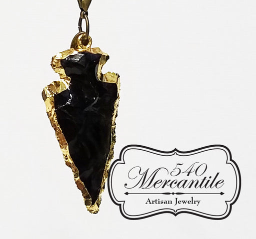 Black Obsidian Arrow Head Charm in Bronze