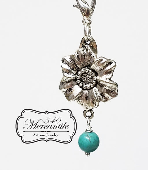 Floral Charm with Turquoise Magnesite in Silver