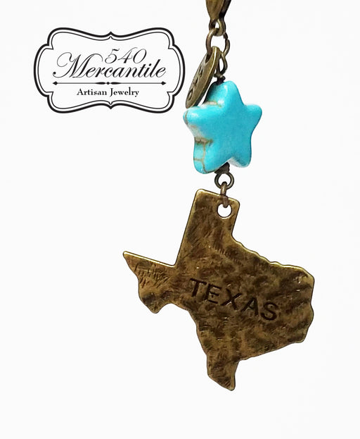 Turquoise Magnesite Star Bead with Bronze Texas Charm