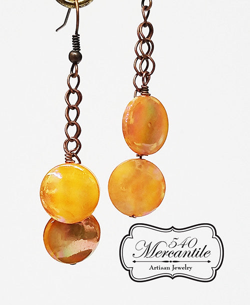 Peach Mother of Pearl Coins and Copper Beaded Double Dangle Earrings