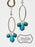 Silver Oval Rings & Turquoise Beaded Dangle Beaded Earrings