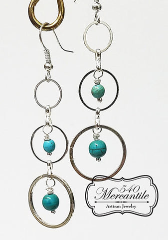Triple Silver Rings & Turquoise Beaded Dangle Beaded Earrings
