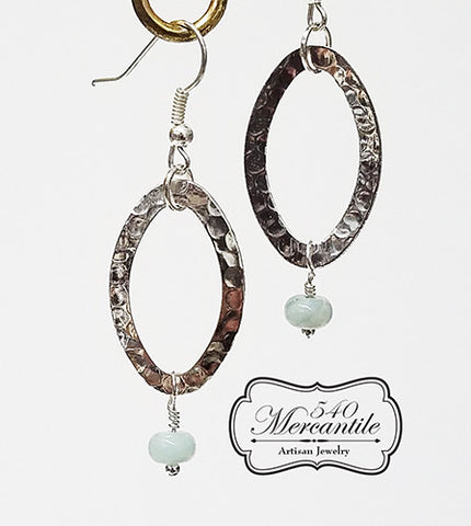Hammered Silver Rings & Beaded Dangle Beaded Earrings
