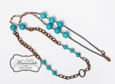 Turquoise and Copper Beaded Charm Necklace