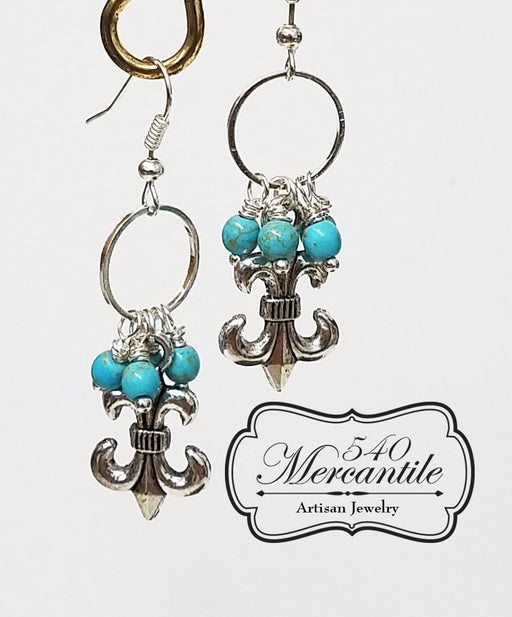 Fleur de Lis Turquoise Drop Dangle Earrings