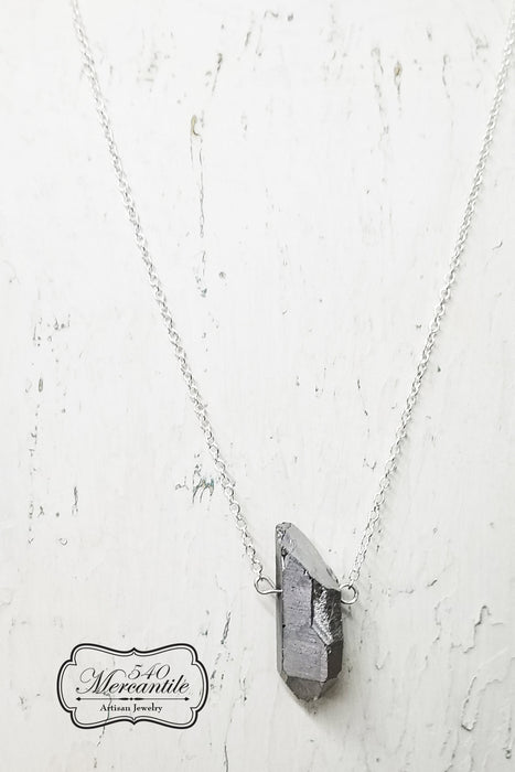 Silver Quartz point with Sterling Chain Necklace