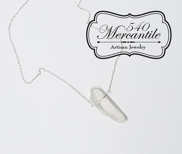 Clear Quartz point with Sterling Chain Necklace