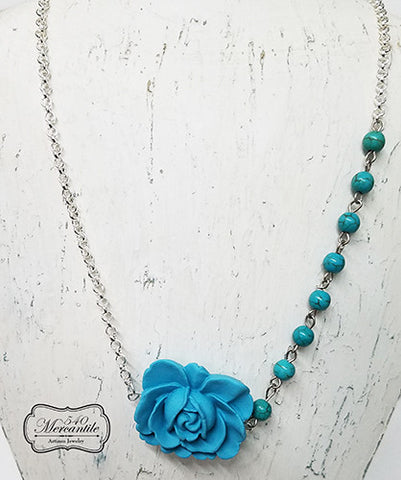 Handcrafted Flower and Turquoise in Silver Necklace