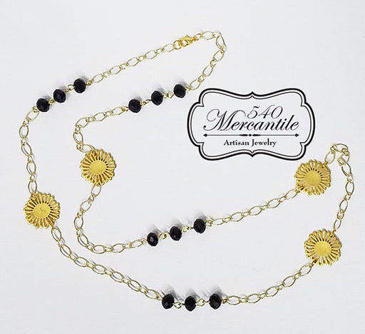 Black and Gold Beaded Charm Necklace