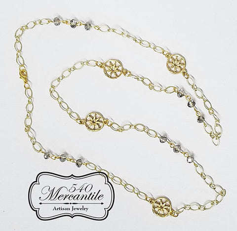 Gray and Gold Beaded Charm Necklace