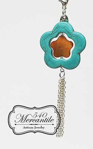 Turquoise and Mother of Pearl Flower Fringe  Charm in Silver