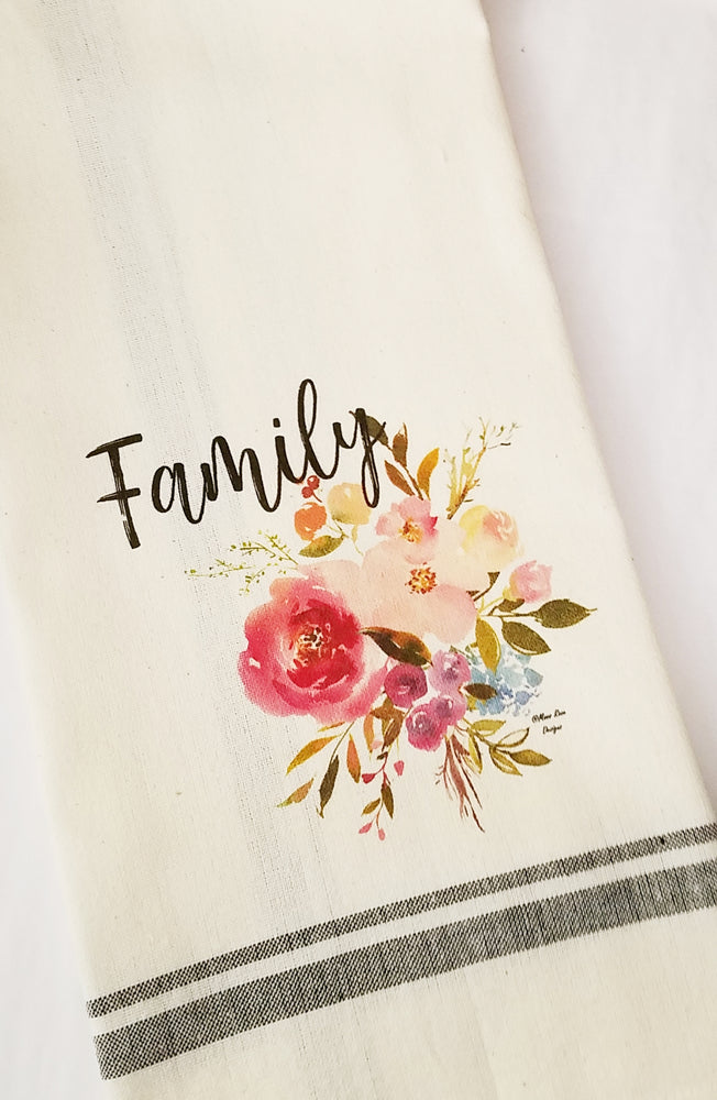 Family with Floral Kitchen Towel