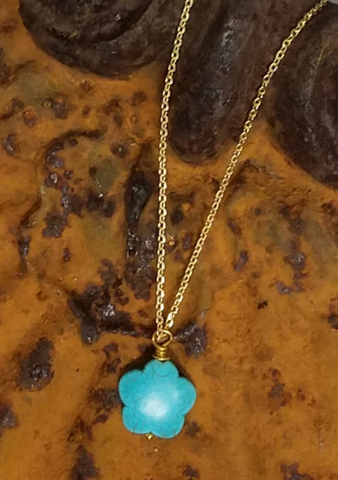 Turquoise Howlite Flower Necklace