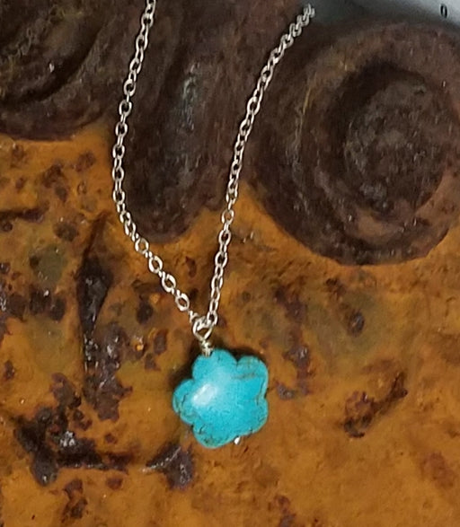 Turquoise Howlite Flower Silver Necklace
