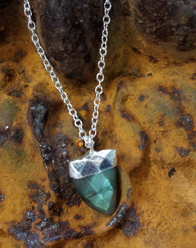 Labradorite Tusk in Sterling Necklace