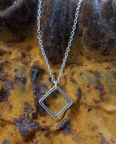 Square - Diamond Shape Sterling Necklace