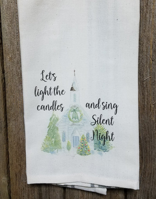 Let's light the candles and sing Silent Night Kitchen Towel