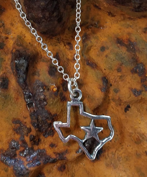 Texas and Star in Sterling Necklace