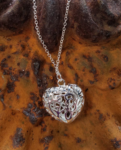 Filigree Puffed Heart  in Sterling Necklace