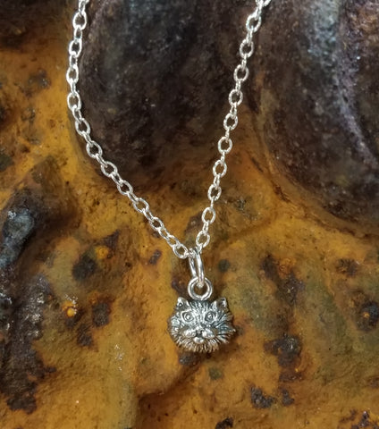 Kitten Face in Sterling Necklace