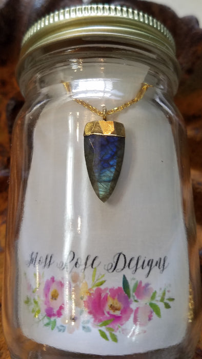 Labradorite Point in Gold Plated Sterling Necklace