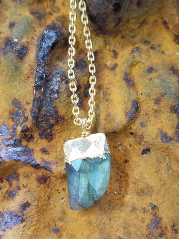Labradorite Tusk in Gold Plated Sterling Necklace