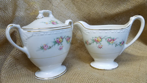 Countess Eggshell Georgian Homer Laughlin Creamer and Sugar 3 piece