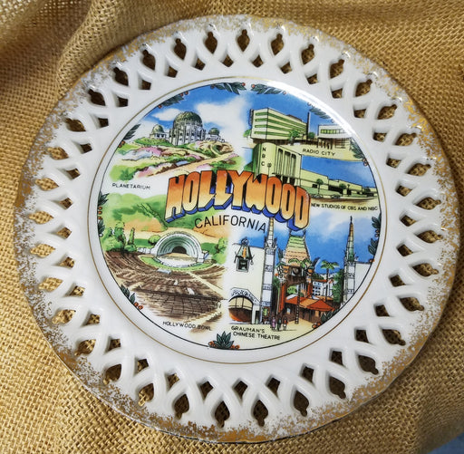 Hollywood California gold trimmed souvenir plate